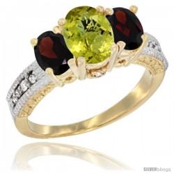 10K Yellow Gold Ladies Oval Natural Lemon Quartz 3-Stone Ring with Garnet Sides Diamond Accent
