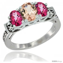 14K White Gold Natural Morganite & Pink Topaz Ring 3-Stone Oval with Diamond Accent
