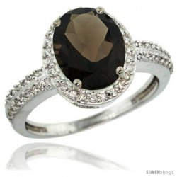 Sterling Silver Diamond Natural Smoky Topaz Ring Oval Stone 10x8 mm 2.4 ct 1/2 in wide