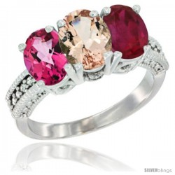 14K White Gold Natural Pink Topaz, Morganite & Ruby Ring 3-Stone 7x5 mm Oval Diamond Accent