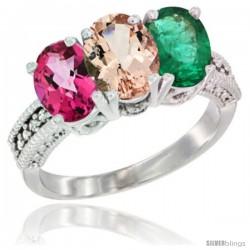 14K White Gold Natural Pink Topaz, Morganite & Emerald Ring 3-Stone 7x5 mm Oval Diamond Accent