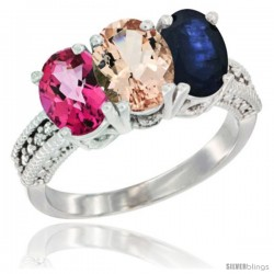 14K White Gold Natural Pink Topaz, Morganite & Blue Sapphire Ring 3-Stone 7x5 mm Oval Diamond Accent