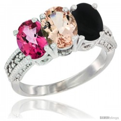 14K White Gold Natural Pink Topaz, Morganite & Black Onyx Ring 3-Stone 7x5 mm Oval Diamond Accent