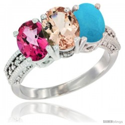 14K White Gold Natural Pink Topaz, Morganite & Turquoise Ring 3-Stone 7x5 mm Oval Diamond Accent
