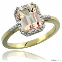 14k Yellow Gold Ladies Natural Morganite Ring Emerald-shape 8x6 Stone Diamond Accent