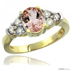14k Yellow Gold Ladies Natural Morganite Ring oval 9x7 Stone Diamond Accent