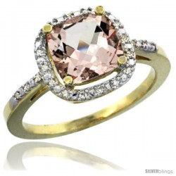 14k Yellow Gold Ladies Natural Morganite Ring Cushion-cut 3.85 ct. 8x8 Stone Diamond Accent