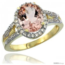 14k Yellow Gold Ladies Natural Morganite Ring oval 10x8 Stone Diamond Accent