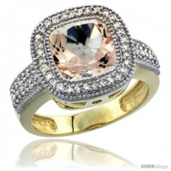 14K Yellow Gold Natural Morganite Ring Diamond Accent, Cushion-cut 9x9 Stone Diamond Accent