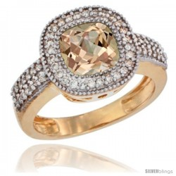 14k Yellow Gold Ladies Natural Morganite Ring Cushion-cut 3.5 ct. 7x7 Stone Diamond Accent