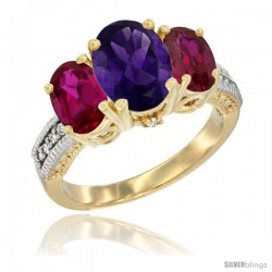 14K Yellow Gold Ladies 3-Stone Oval Natural Amethyst Ring with Ruby Sides Diamond Accent