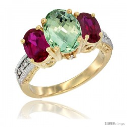 14K Yellow Gold Ladies 3-Stone Oval Natural Green Amethyst Ring with Ruby Sides Diamond Accent