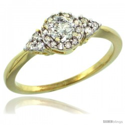 10k Gold Cluster Diamond Engagement Ring w/ 0.49 Carat Brilliant Cut Diamonds, 5/16 in. (8mm) wide