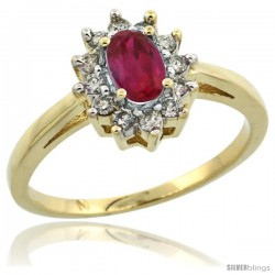 10k Gold ( 6x4 mm ) Halo Engagement Created Ruby Ring w/ 0.212 Carat Brilliant Cut Diamonds & 0.45 Carat Oval Cut Stone, 7/16