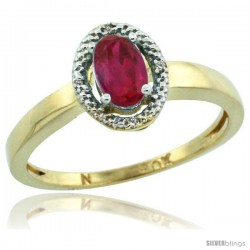 10k Gold ( 6x4 mm ) Halo Engagement Created Ruby Ring w/ 0.007 Carat Brilliant Cut Diamonds & 0.55 Carat Oval Cut Stone, 3/8