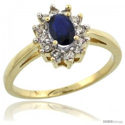 10k Gold ( 6x4 mm ) Halo Engagement Created Blue Sapphire Ring w/ 0.212 Carat Brilliant Cut Diamonds & 0.45 Carat Oval Cut