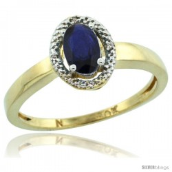 10k Gold ( 6x4 mm ) Halo Engagement Created Blue Sapphire Ring w/ 0.007 Carat Brilliant Cut Diamonds & 0.55 Carat Oval Cut