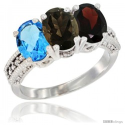 10K White Gold Natural Swiss Blue Topaz, Smoky Topaz & Garnet Ring 3-Stone Oval 7x5 mm Diamond Accent