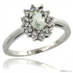 Sterling Silver Natural Green Amethyst Diamond Halo Ring Oval Shape 1.2 Carat 6X4 mm, 1/2 in wide