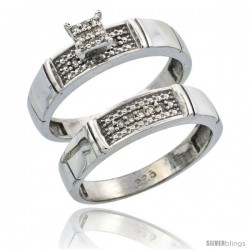 Sterling Silver Ladies' 2-Piece Diamond Engagement Wedding Ring Set Rhodium finish, 3/16 in wide -Style Ag007e2