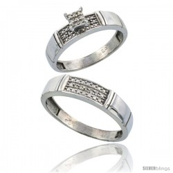 Sterling Silver 2-Piece Diamond wedding Engagement Ring Set for Him & Her Rhodium finish, 4.5mm & 5mm wide