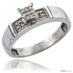 Sterling Silver Diamond Engagement Ring Rhodium finish, 3/16 in wide -Style Ag007er