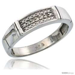 Sterling Silver Ladies' Diamond Wedding Band Rhodium finish, 3/16 in wide -Style Ag007lb