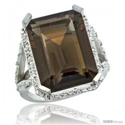 Sterling Silver Diamond Natural Smoky Topaz Ring 14.96 ct Emerald Shape 18x13 Stone 13/16 in wide