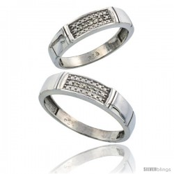 Sterling Silver Diamond 2 Piece Wedding Ring Set His 5mm & Hers 4.5mm Rhodium finish