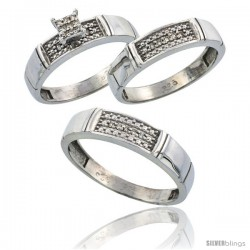Sterling Silver Diamond Trio Wedding Ring Set His 5mm & Hers 4.5mm Rhodium finish