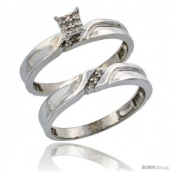 Sterling Silver Ladies' 2-Piece Diamond Engagement Wedding Ring Set Rhodium finish, 1/8 in wide -Style Ag008e2