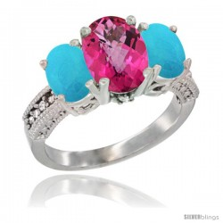 14K White Gold Ladies 3-Stone Oval Natural Pink Topaz Ring with Turquoise Sides Diamond Accent