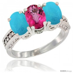 14K White Gold Natural Pink Topaz & Turquoise Sides Ring 3-Stone 7x5 mm Oval Diamond Accent