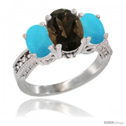 14K White Gold Ladies 3-Stone Oval Natural Smoky Topaz Ring with Turquoise Sides Diamond Accent
