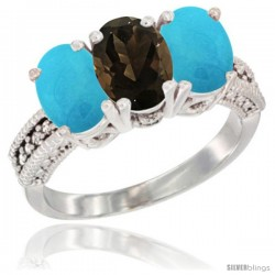 14K White Gold Natural Smoky Topaz & Turquoise Sides Ring 3-Stone 7x5 mm Oval Diamond Accent