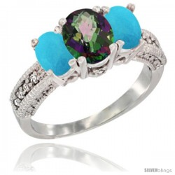 14k White Gold Ladies Oval Natural Mystic Topaz 3-Stone Ring with Turquoise Sides Diamond Accent