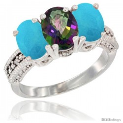 14K White Gold Natural Mystic Topaz & Turquoise Sides Ring 3-Stone 7x5 mm Oval Diamond Accent