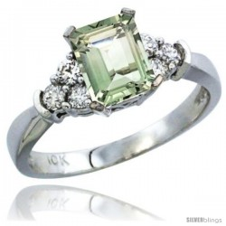 10K White Gold Natural Green Amethyst Ring Emerald-shape 7x5 Stone Diamond Accent
