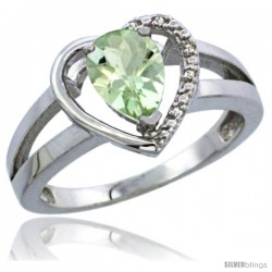 10K White Gold Natural Green Amethyst Ring Heart-shape 5 mm Stone Diamond Accent