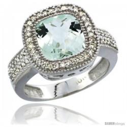 10K White Gold Natural Green-Amethyst Ring Cushion-cut 9x9 Stone Diamond Accent