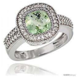 10K White Gold Natural Green-Amethyst Ring Cushion-cut 7x7 Stone Diamond Accent