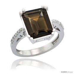 Sterling Silver Diamond Natural Smoky Topaz Ring 5.83 ct Emerald Shape 12x10 Stone 1/2 in wide