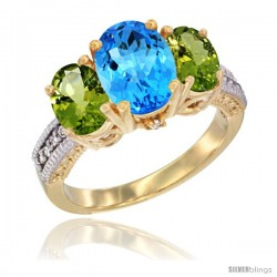 10K Yellow Gold Ladies 3-Stone Oval Natural Swiss Blue Topaz Ring with Peridot Sides Diamond Accent