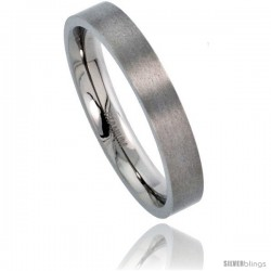 Titanium 4mm Flat Wedding Band / Thumb Ring Matte finish Comfort-fit