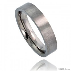 Titanium 5mm Flat Wedding Band / Thumb Ring Matte finish Comfort-fit