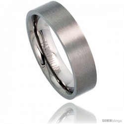 Titanium 6mm Flat Wedding Band Ring Matte finish Comfort-fit -Style Rtt306