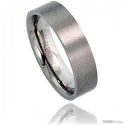 Titanium 6mm Flat Wedding Band Ring Matte finish Comfort-fit -Style Rtt306