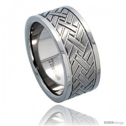 Titanium 9mm Wedding Band Ring Herringbone Pattern Comfort-fit