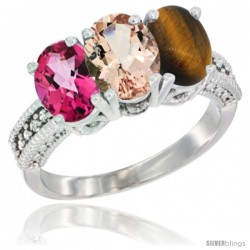 14K White Gold Natural Pink Topaz, Morganite & Tiger Eye Ring 3-Stone 7x5 mm Oval Diamond Accent