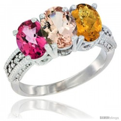 14K White Gold Natural Pink Topaz, Morganite & Whisky Quartz Ring 3-Stone 7x5 mm Oval Diamond Accent